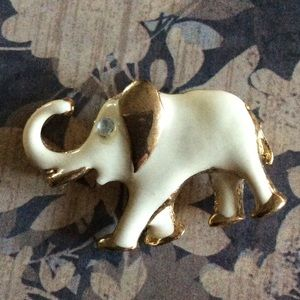 Jewelry - Elephant Brooch Gold Cream Enamel